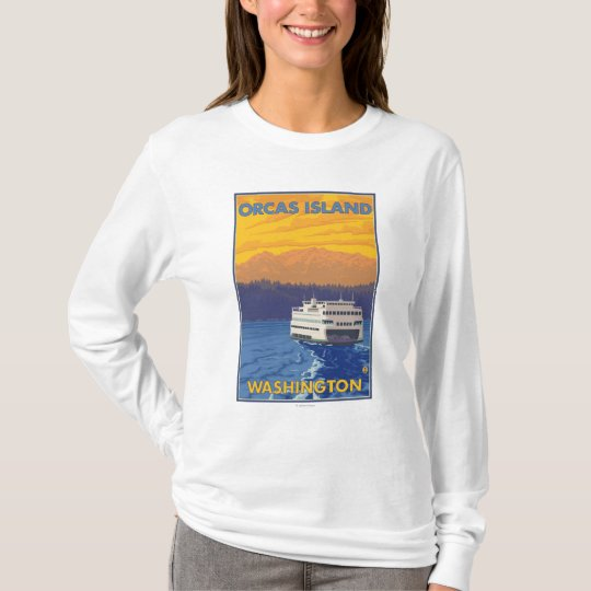 Ferry and Mountains - Orcas Island, Washington T-Shirt