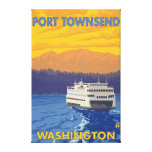 Ferry and Mountains - Port Townsend, Washington Stretched Canvas Prints