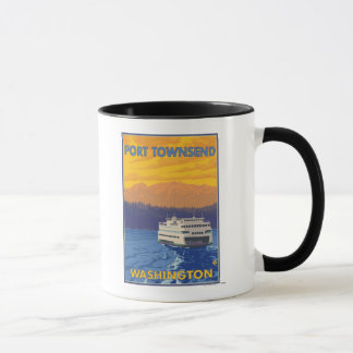 Ferry and Mountains - Port Townsend, Washington Mug