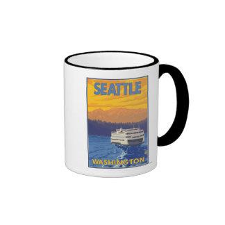 Ferry and Mountains - Seattle, Washington Mugs