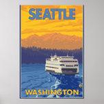 Ferry and Mountains - Seattle, Washington Poster