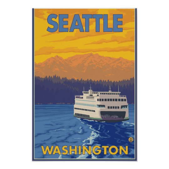 Ferry and Mountains - Seattle, Washington Poster