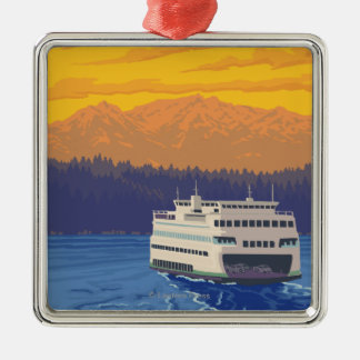 Ferry and Mountains - Seattle, Washington Square Metal Christmas Ornament