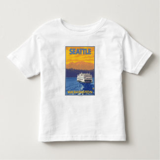 Ferry and Mountains - Seattle, Washington Toddler T-shirt