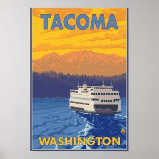 Ferry and Mountains - Tacoma, Washington Poster