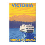 Ferry and Mountains - Victoria, BC Canada Stretched Canvas Prints