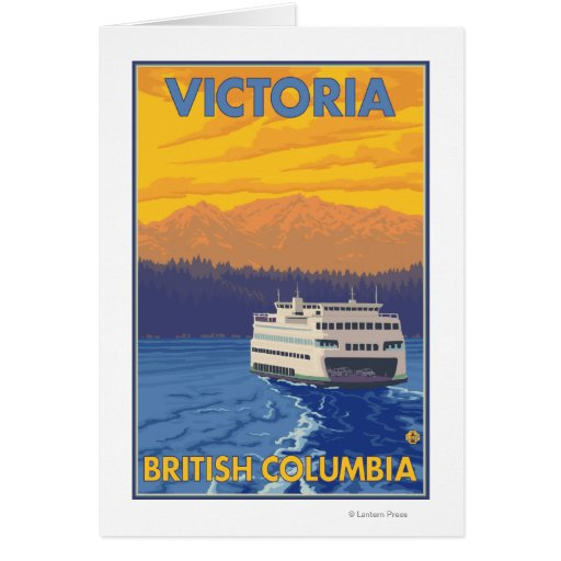 Ferry and Mountains - Victoria, BC Canada Greeting Card