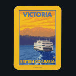 "Ferry and Mountains - Victoria, BC Canada Magnet<br><div class=""desc"">Ferry and Mountains - Victoria,  BC Canada - Vintage Travel Poster was created in 2007. This image depicts scenes from Victoria,  British Columbia,  Canada.</div>"
