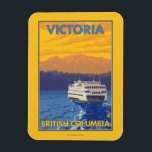 """Ferry and Mountains - Victoria, BC Canada Magnet<br><div class=""""desc"""">Ferry and Mountains - Victoria,  BC Canada - Vintage Travel Poster was created in 2007. This image depicts scenes from Victoria,  British Columbia,  Canada.</div>"""