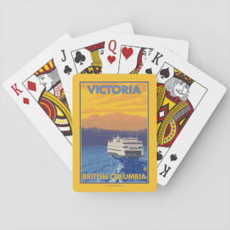 Ferry and Mountains - Victoria, BC Canada Playing Cards