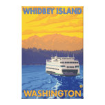 Ferry and Mountains - Whidbey Island, Washington Canvas Print
