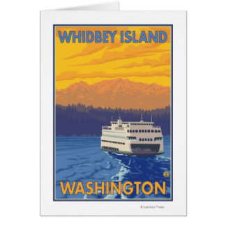 Ferry and Mountains - Whidbey Island, Washington Greeting Card