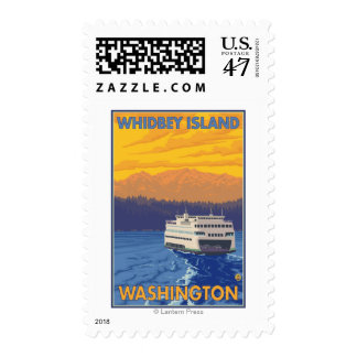 Ferry and Mountains - Whidbey Island, Washington Postage