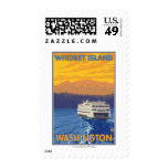 Ferry and Mountains - Whidbey Island, Washington Postage Stamp