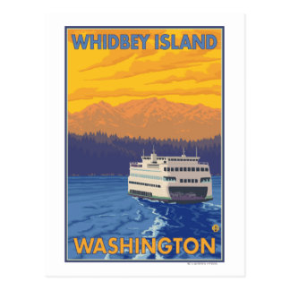 Ferry and Mountains - Whidbey Island, Washington Postcard