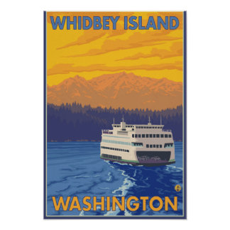 Ferry and Mountains - Whidbey Island, Washington Poster