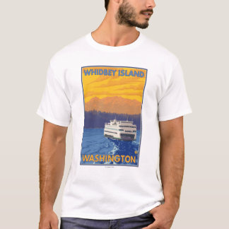 Ferry and Mountains - Whidbey Island, Washington T-Shirt