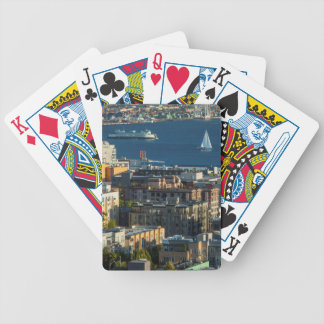 Ferry And Sailboats In The Puget Sound Bicycle Playing Cards