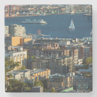 Ferry And Sailboats In The Puget Sound Stone Beverage Coaster