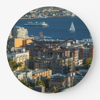 Ferry And Sailboats In The Puget Sound Large Clock