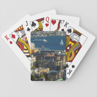 Ferry And Sailboats In The Puget Sound Playing Cards