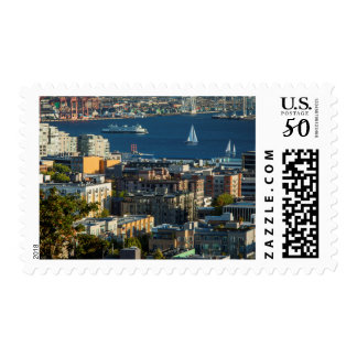 Ferry And Sailboats In The Puget Sound Postage