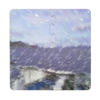 ferry and sea art puzzle coaster