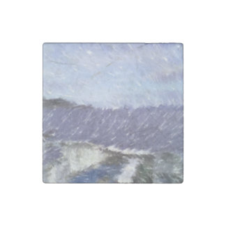 ferry and sea art stone magnet