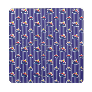 Ferry Boats on Nautical Blue Puzzle Coaster
