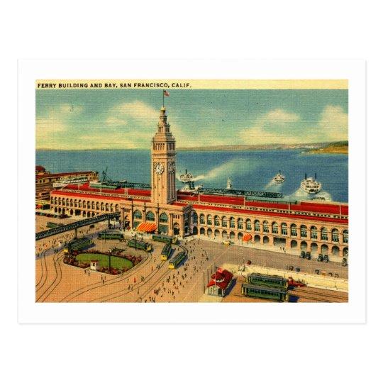 Ferry Building & Bay, San Francisco Vintage Postcard