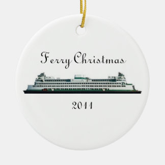 Ferry Christmas Ceramic Ornament
