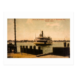 Ferry for Windsor, Canada from Detroit, Michigan Postcard