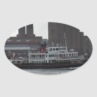 Ferry Over the River Mersey Oval Stickers