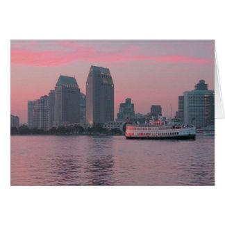 Ferry @ San Diego Sunset Greeting Card