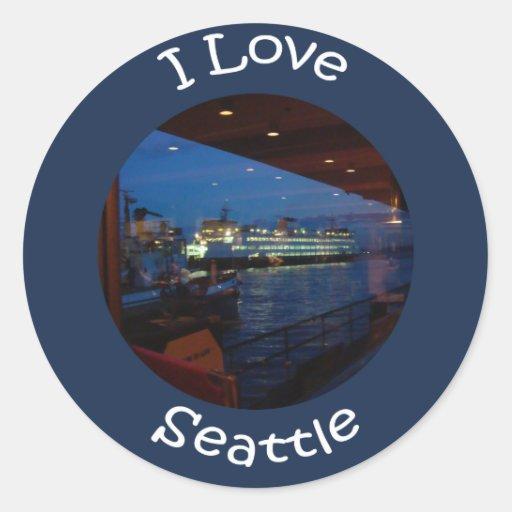 Ferry through the Window Classic Round Sticker