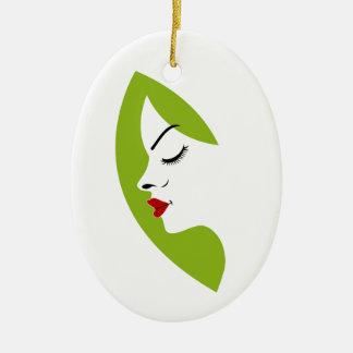 fertilidad de las señoras adorno navideño ovalado de cerámica