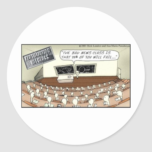 Fertilization 101 Hilarious Cartoon Gifts & Tees Classic Round Sticker