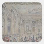 Festeje dado por señora du Barry para Louis XV Calcomania Cuadradas Personalizada
