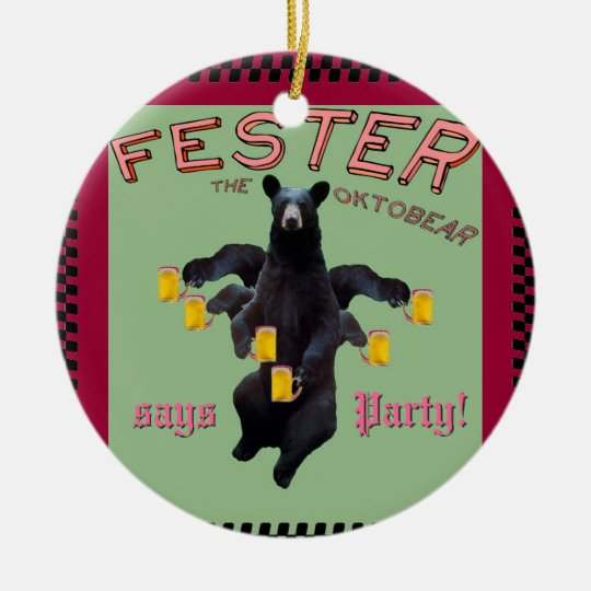 Fester says Happy New Year and Party! Ceramic Ornament