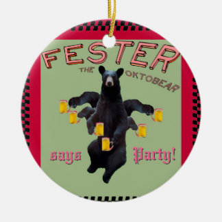 Fester says Merry Christmas! and Party! Ornaments