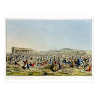 Festival at Athens, pub. by J. Rodwell, 1830 (aqua Post Cards
