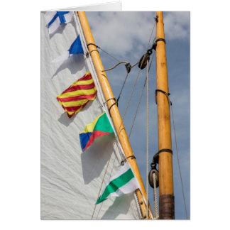 Festival de madera 3 del barco de la isla de tarjeta de felicitación