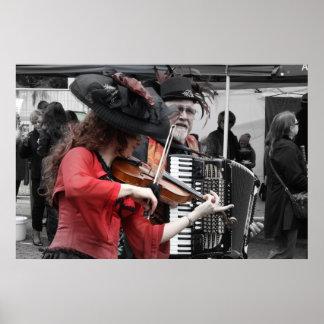 Festival del francés del _del jugador del violín y póster
