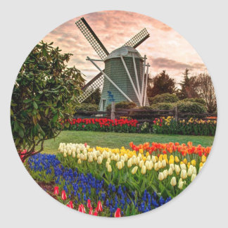 Festival del tulipán pegatina redonda