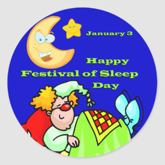Festival feliz sueño día del 3 de enero pegatina redonda