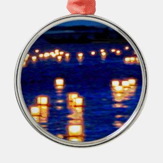 Festival flotante de la linterna adorno redondo plateado