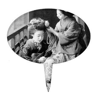 Festival japonés de Hina de los chicas en kimono Decoración De Tarta