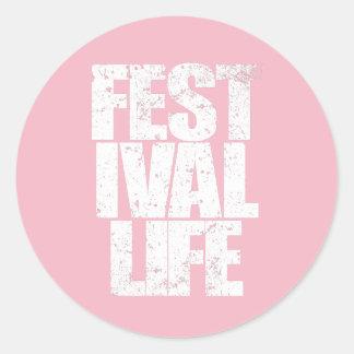 FESTIVAL LIFE (wht) Classic Round Sticker
