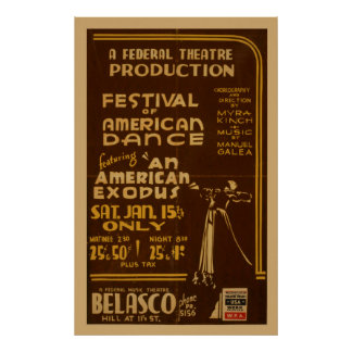 Festival Of American Dance At Federal Theatre WPA Poster