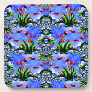 Festival of Red Tulips Cute Floral Design Beverage Coaster